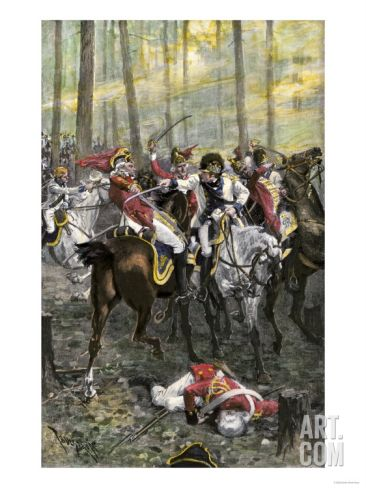 Combat during the Battle of Cowpens, c.1781. Art.com