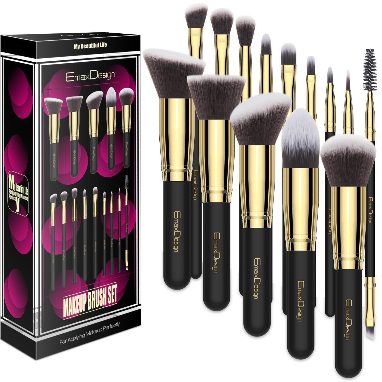 EmaxDesign Makeup Brushes 14 Pieces Professional Makeup
