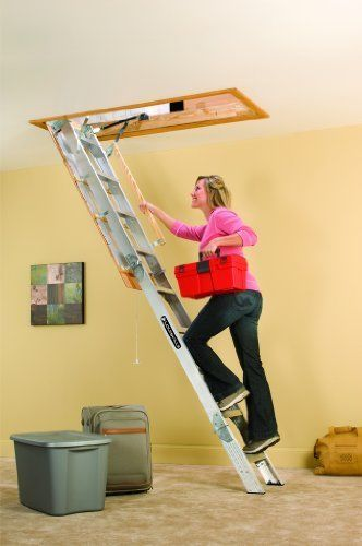 Aluminum Attic Ladder Ceiling Pull Down Folding Stairs Garage Loft