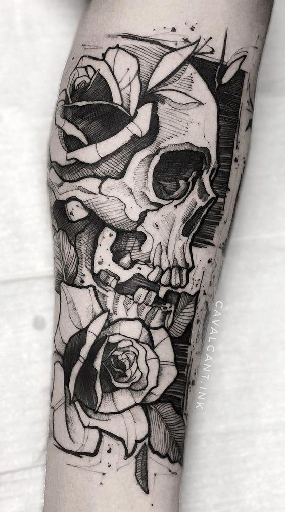 80 skulls and skull tattoos TopTattoos #femininas #Masculinas # Skulls #Sc … #tattoofeminin
