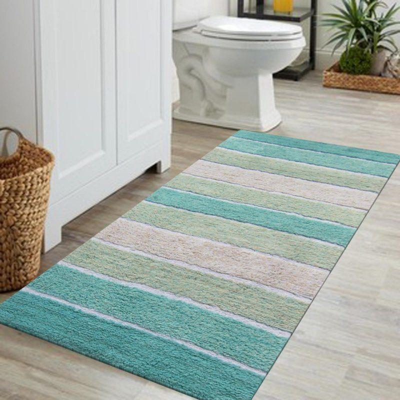 Blakely Stripe Designed Cotton Bath Rug Rugs Bathroom Rugs