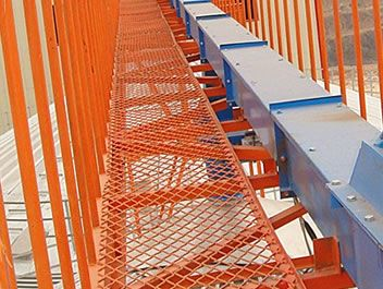 Best The Picture Shows One Orange Expanded Metal Grating At A Construction Site With Railings At Two 640 x 480