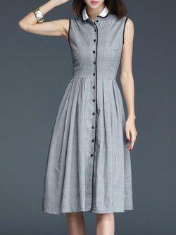 f68ca989a6cd Gray Cotton Checkered Plaid Buttoned Sleeveless Midi Dress