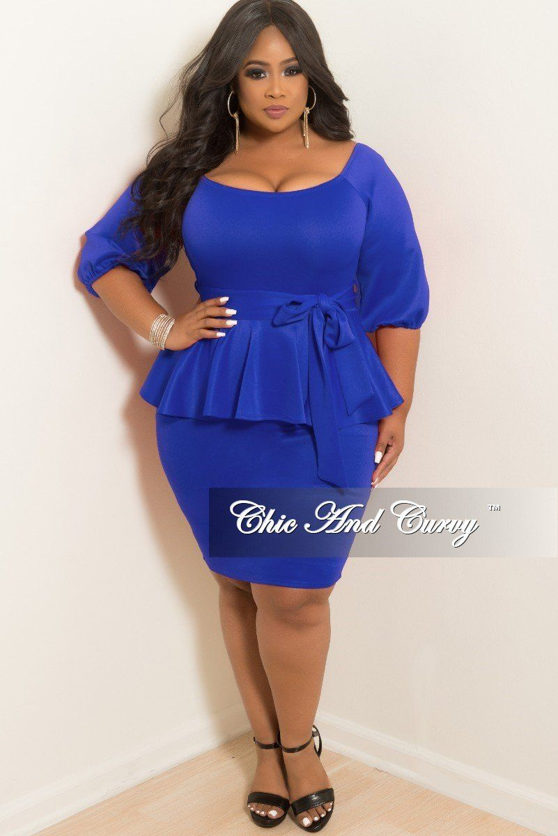 1561d194412 New Plus Size Off the Shoulder Peplum BodyCon Dress with Attached Tie in  Royal Blue