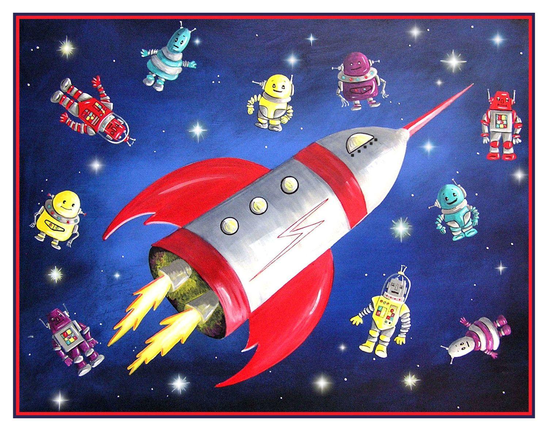 Rocket Ship And Robots Art, Space Art, Boy's Room Decor