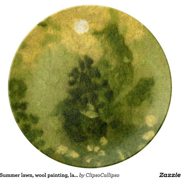 Summer lawn, wool painting, landscape in green sha porcelain plate ...