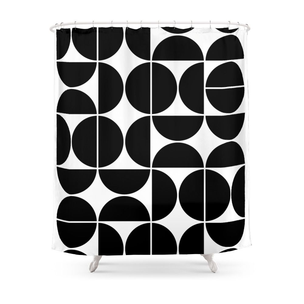 Mid Century Modern Geometric 04 Black Shower Curtain By