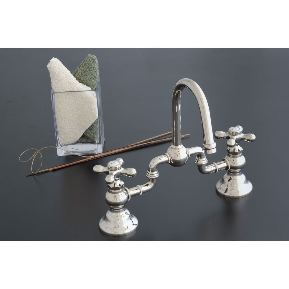 Adjustable Bridge Faucet With Cross Handles 8 To 10 Inch Centers
