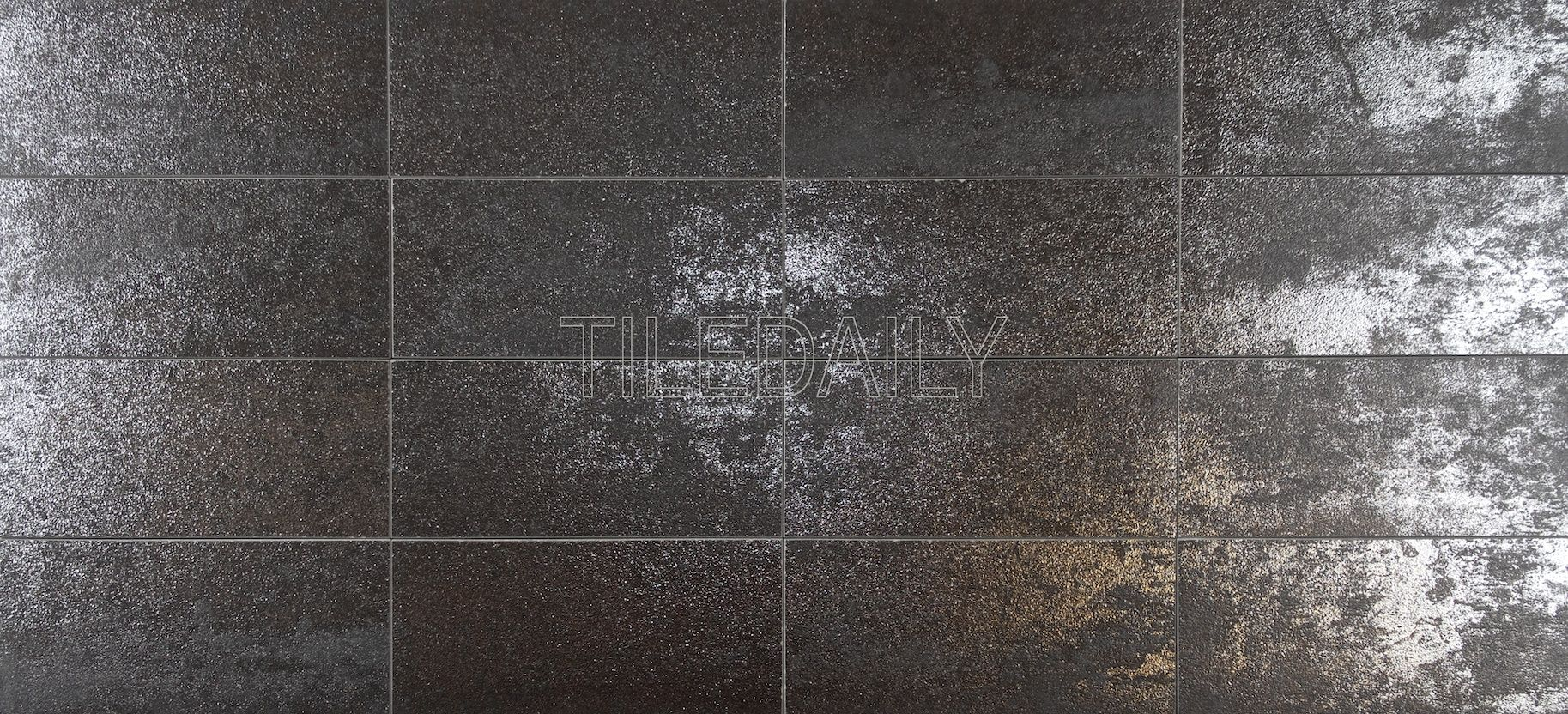rustic iron metallic subway porcelain tile available in 3x6 and