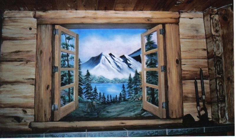 Images of log cabins with log window frames gave the for Log cabin painting