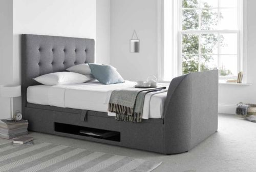 5ft King Size Ottoman Storage TV Bed Wool Smoke Fabric Holds Up To ...