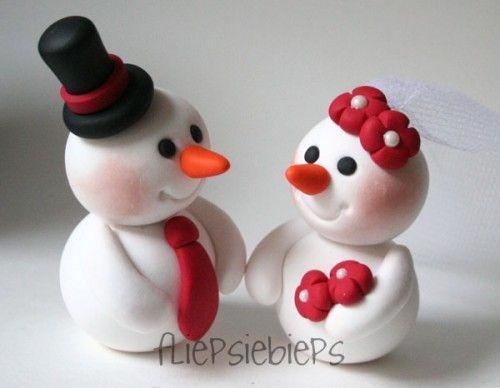 Bride and Groom snowman Cake Toppers | Custom Snowman Wedding Cake ...