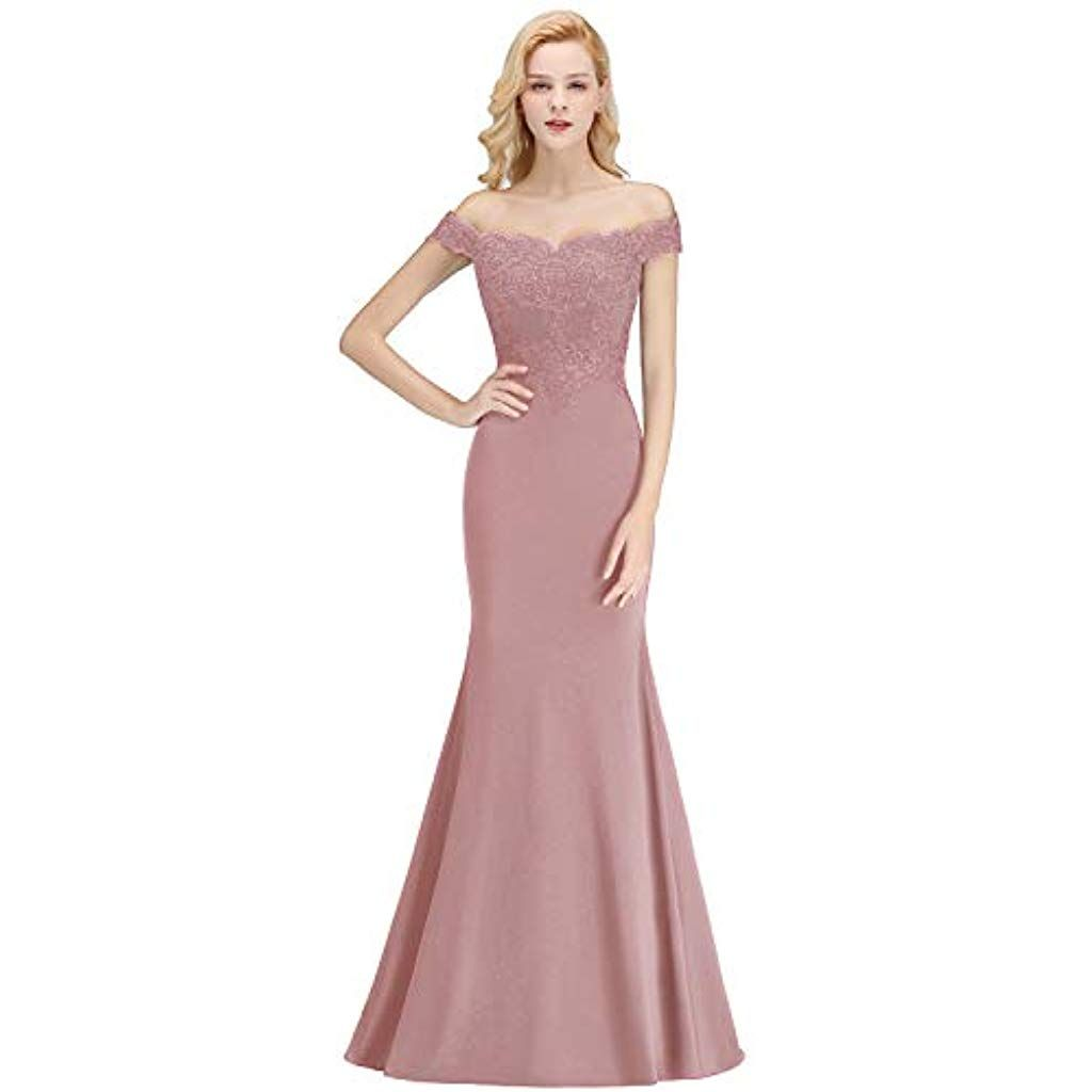 MisShow Damen Elegant Off Shoulder Spitzen Abendkleid Abschluss