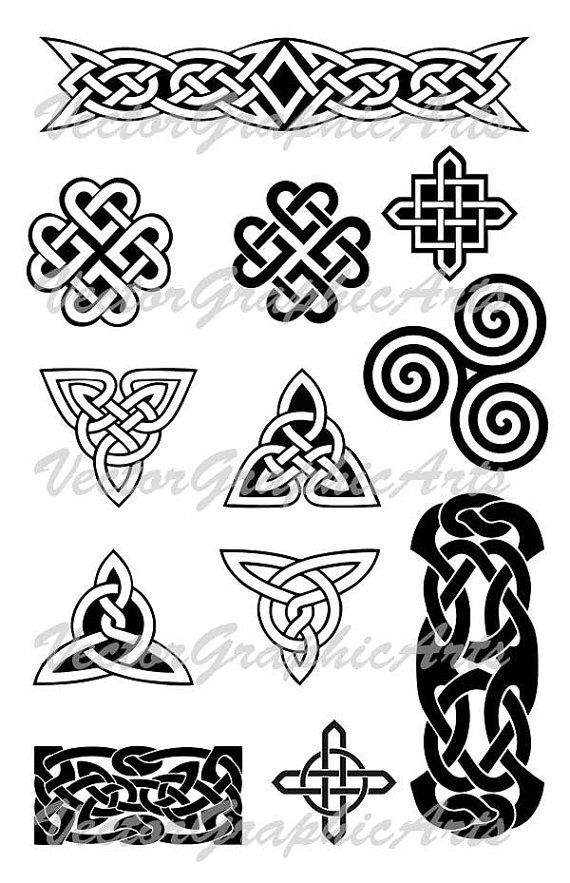 Celtic ornament. Set of 12 pieces. Ornament for a tattoo