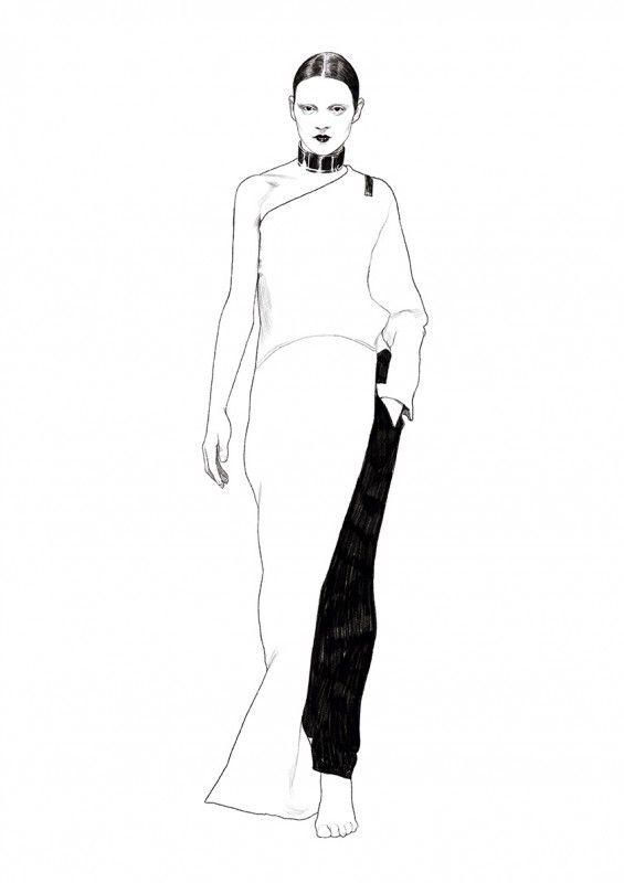 Fashion illustration - Givenchy one-shoulder dress drawing // Ignasi Monreal