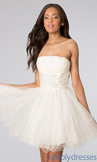 Short Strapless Tulle Dress at SimplyDresses.com