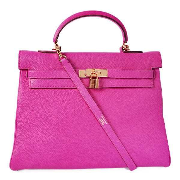 K35CPG Hermes kelly 35CM clemence leather in Purpurin with Gold