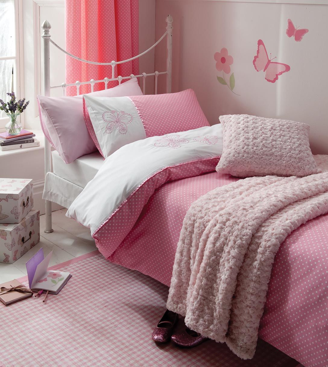 Pink and white polka dot bedding - Pink Flutterbye Girls Bedding Single Double Duvet Pink Polka Dot Curtains Curly Fur Throw