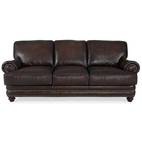 Westbury Leather Traditional Dark Brown Sofa With Nailhead