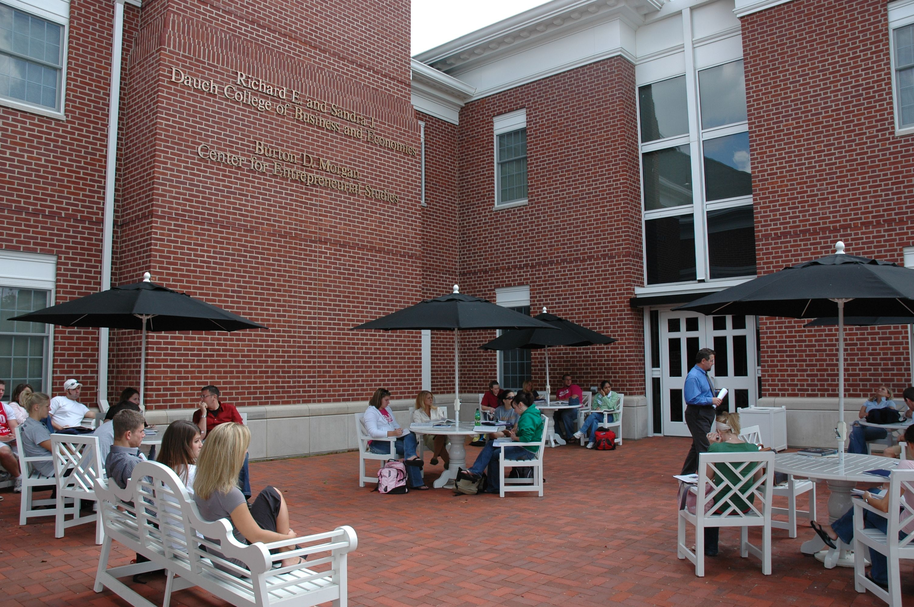 Dauch College of Business and Economics has a beautiful patio!