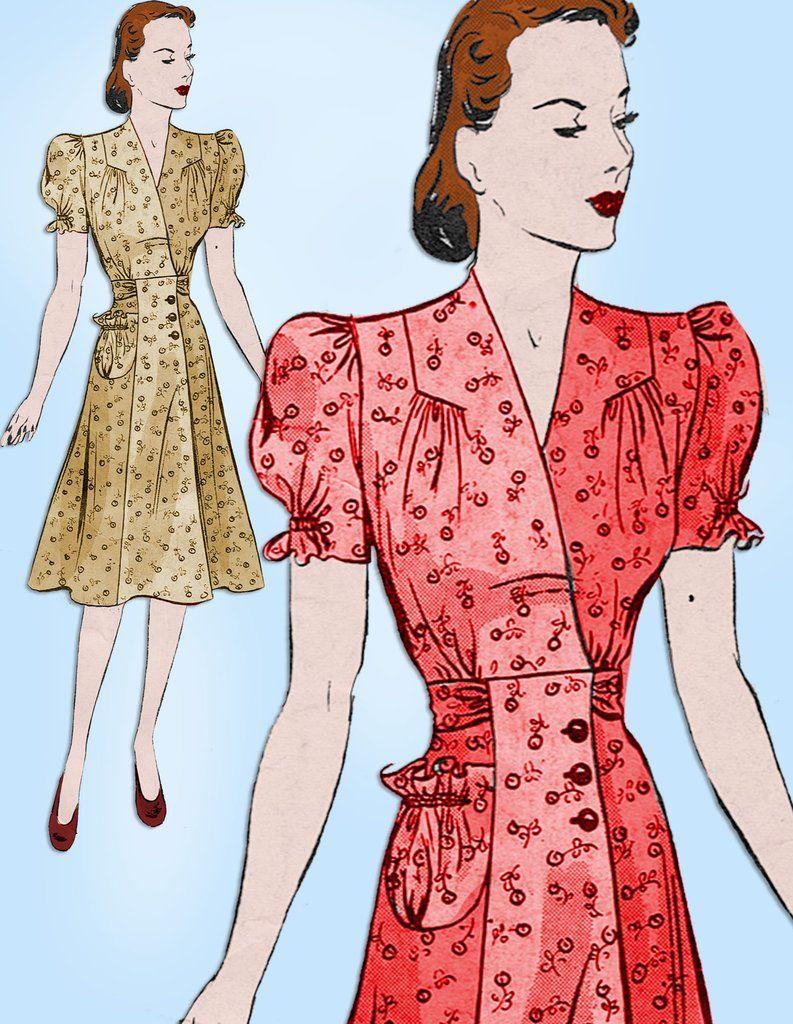 Photo of 1940s Vintage Butterick Sewing Pattern 9233 Plus Size Women's House Dress 40 B