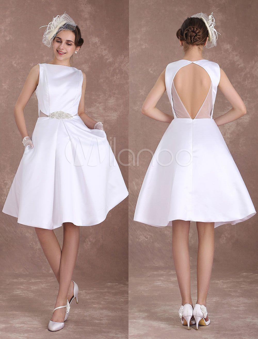 ac737e43518c White Wedding Dresses Short Bridal Dress Vintage 1950's Satin Backless  Bateau Beaded Knee Length Wedding Reception Dress Milanoo - Milanoo.com