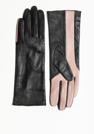 207c61e63f6 & Other Stories | Two Tone Long Leather Gloves | VS | Gloves, Black ...