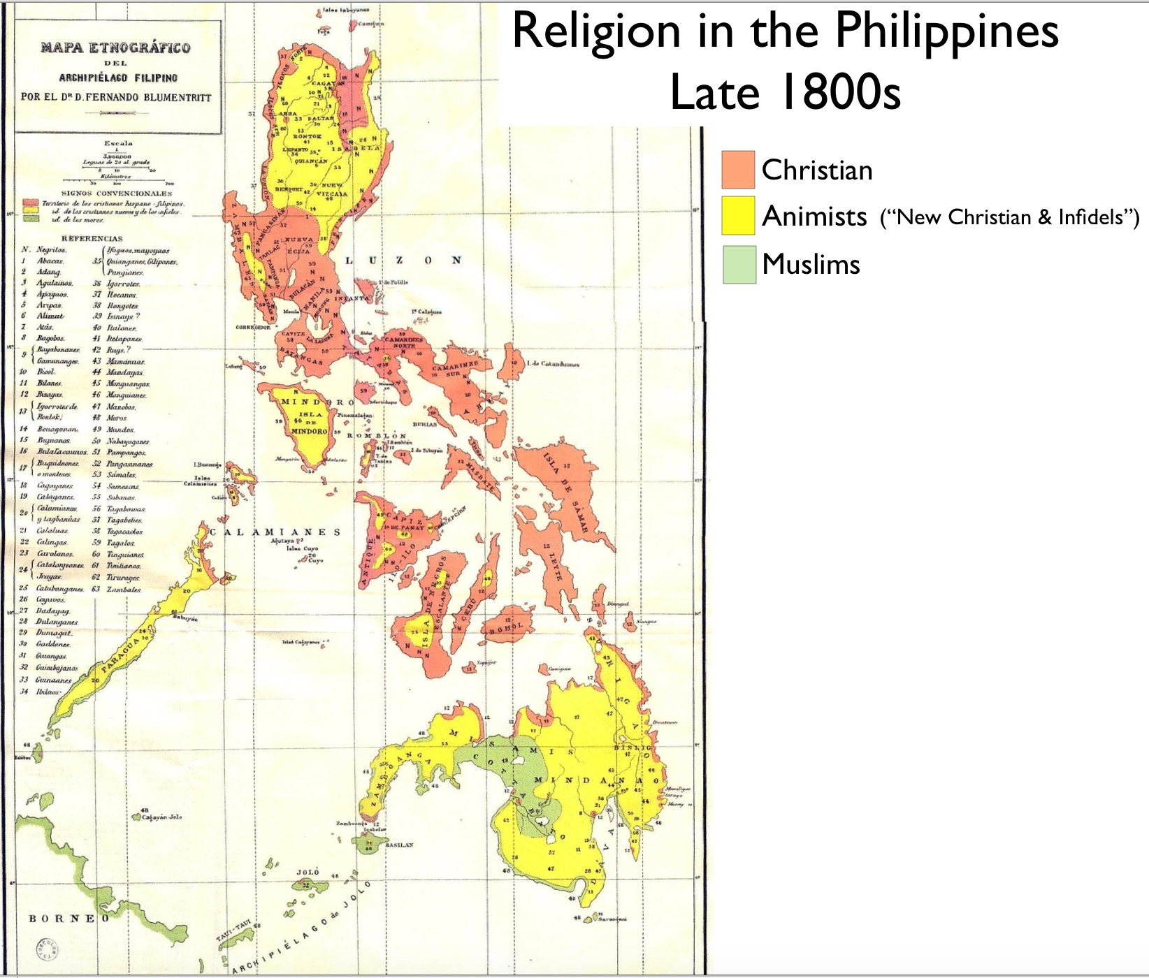 Map of religion in The Philippines in the late 1800s map