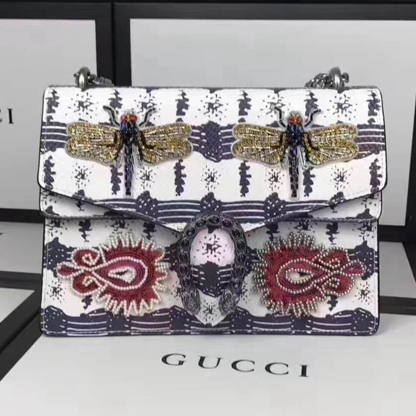 7a79c5894cd Gucci Dionysus Dragonfly Sequin Embroidered Leather Medium Shoulder Bag  400235 2017