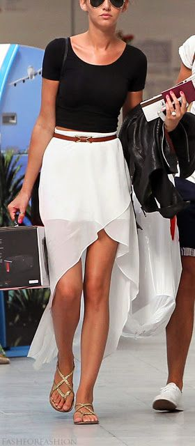 Have a fitted crop top and don't know what to wear with it? Take inspiration from Eleanor Calder add a high-waisted hi-lo skirt!