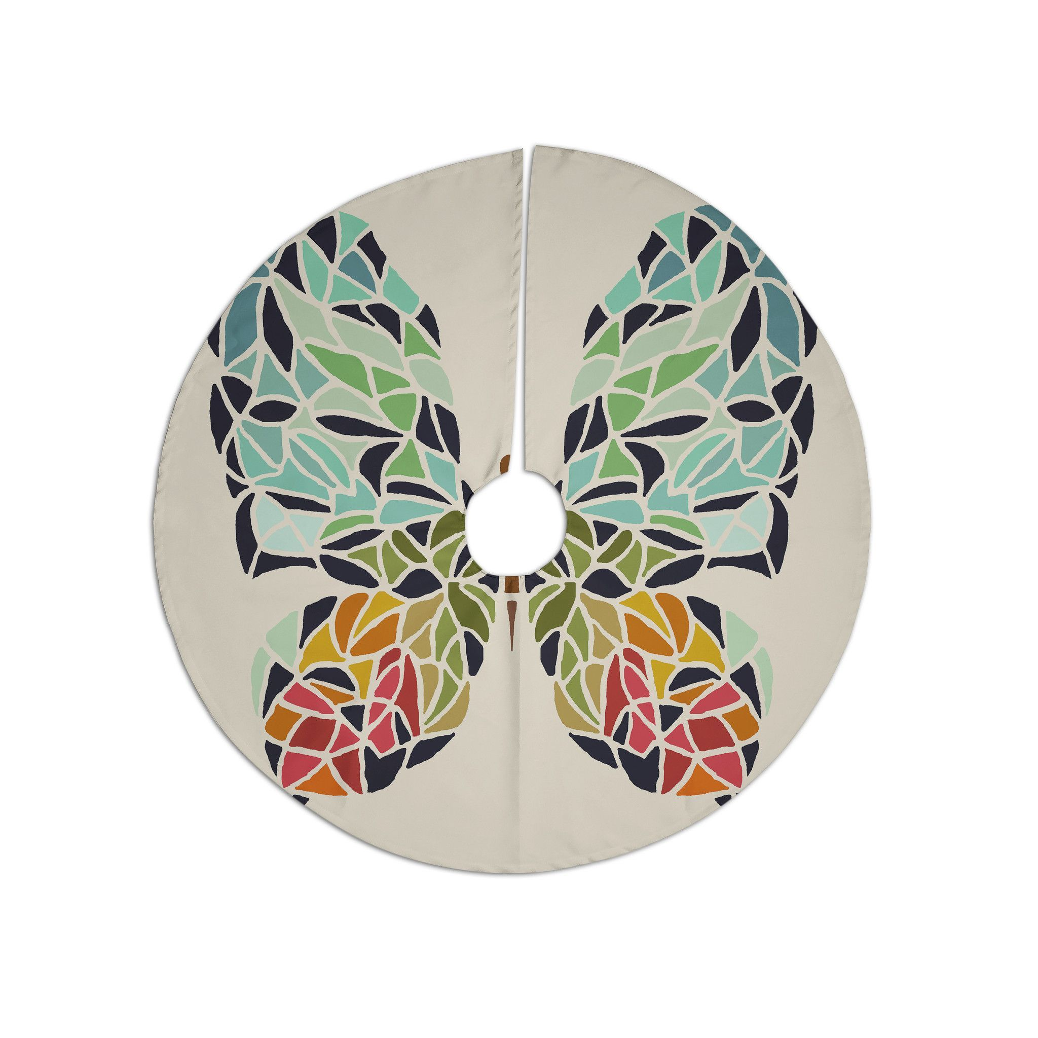 """Art Love Passion """"Butterfly"""" Brown Multicolor Christmas Tree Skirt"""
