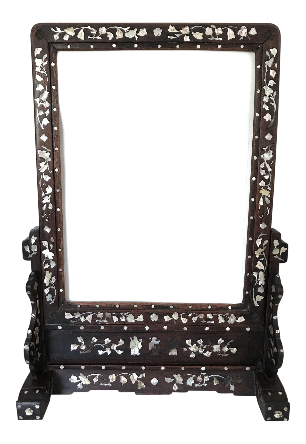 Antique Inlaid Chinese Rosewood Table Screen Or Vanity Mirror On  Chairish.com