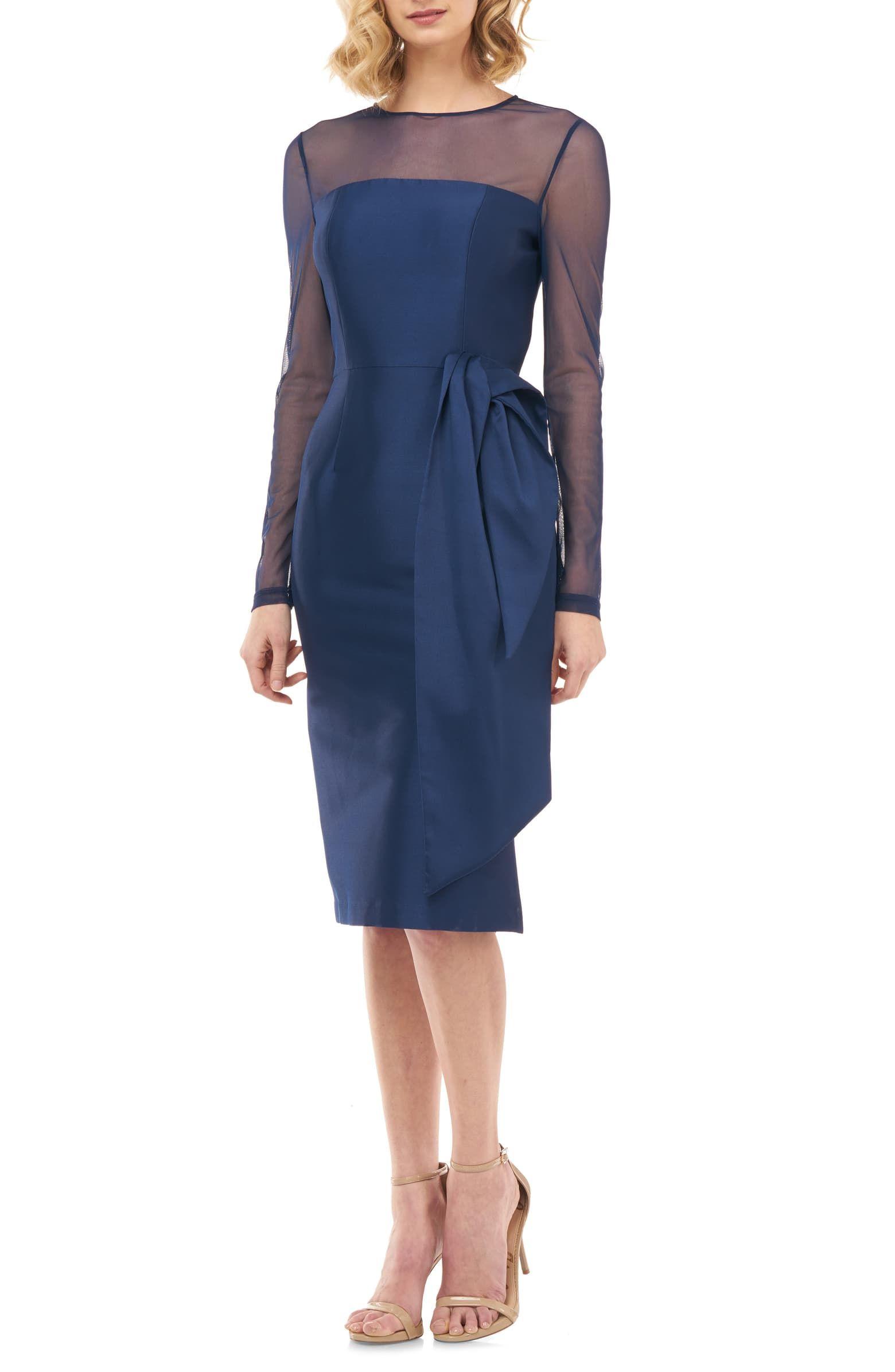 Kay Unger Illusion Neck Long Sleeve Mikado Cocktail Dress Nordstrom Cocktail Dress Long Sleeve Cocktail Dress Fashion Clothes Women [ 2392 x 1560 Pixel ]