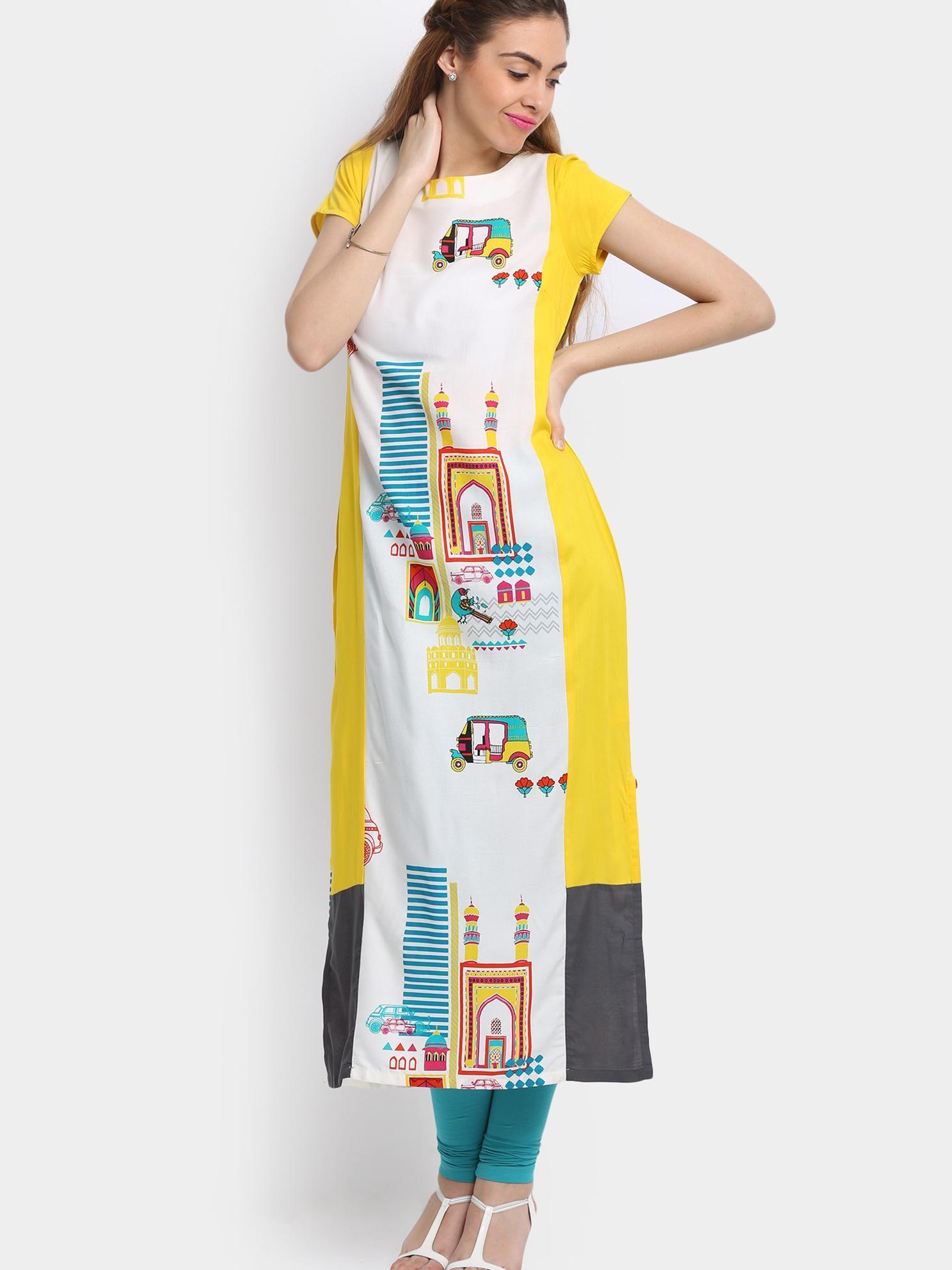 Buy W Women White Printed Viscose Kurta online