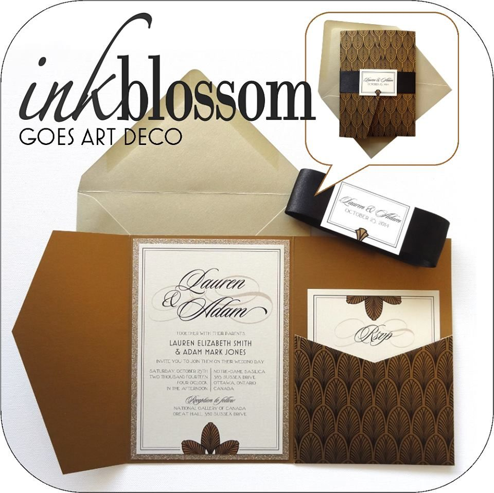 Art Deco Inspired Wedding Invitation| Gold Invitation Pocket with ...