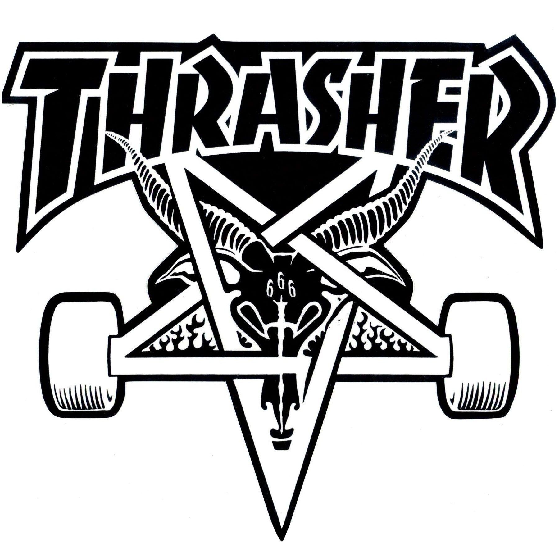 Thrasher Magazine Skate Goat Pentagram Skateboard Sticker 9 X Red Black Sports Outdoors