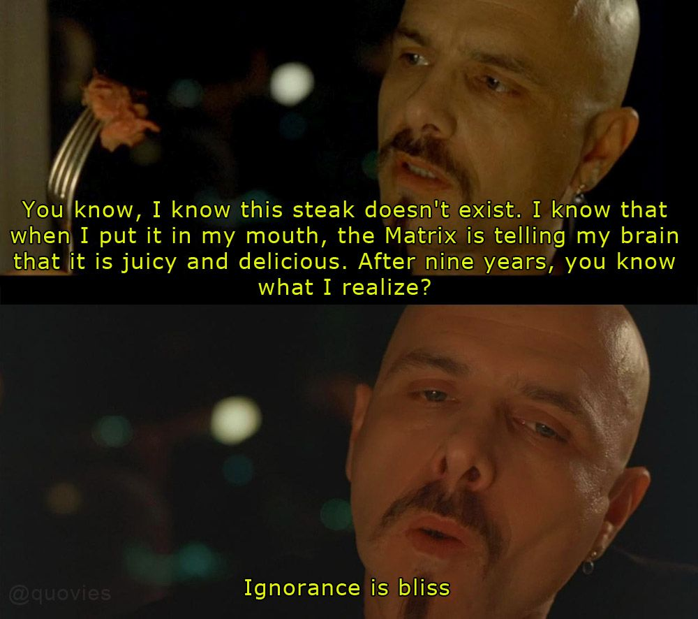 The Matrix, 1999 Ignorance Is Bliss
