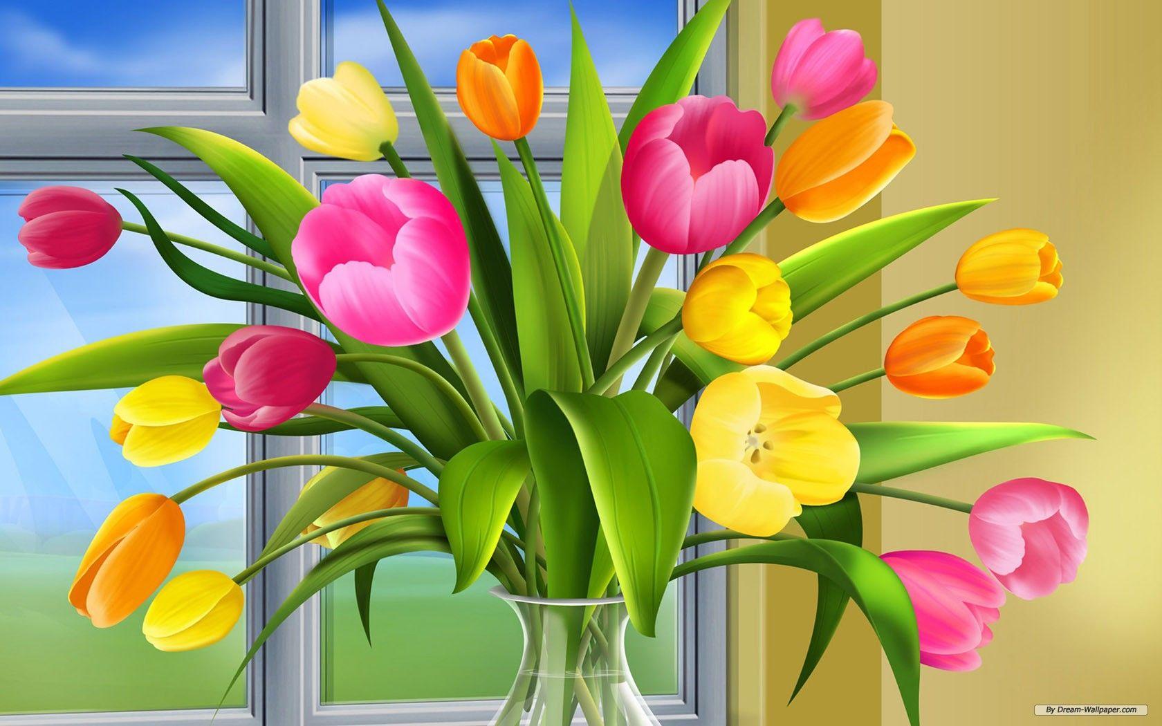 Holiday Flower Wallpaper Tulips In Vase Flower Stamp