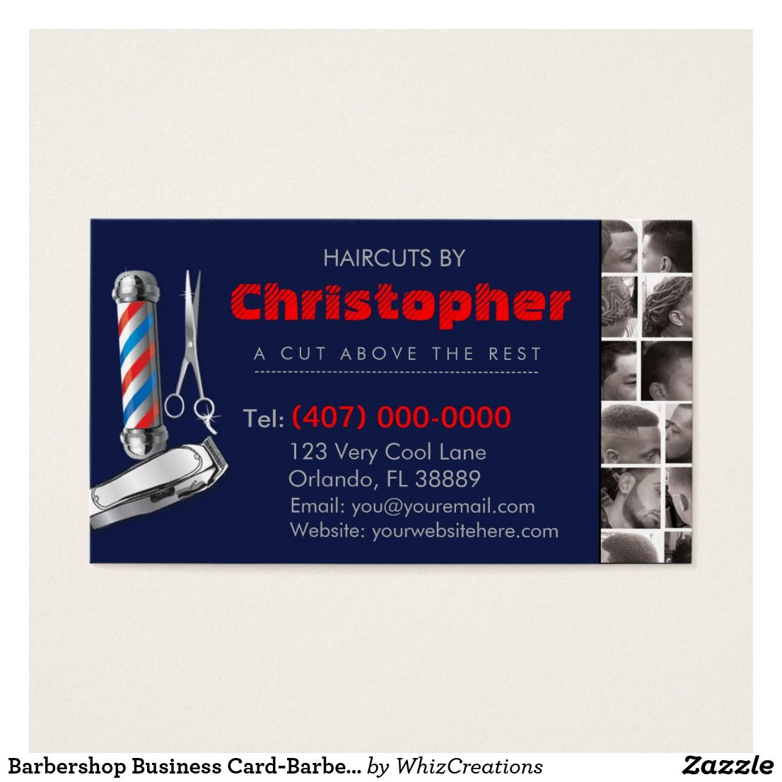 Barbershop Business Card-Barber pole, clippers com Business Card ...