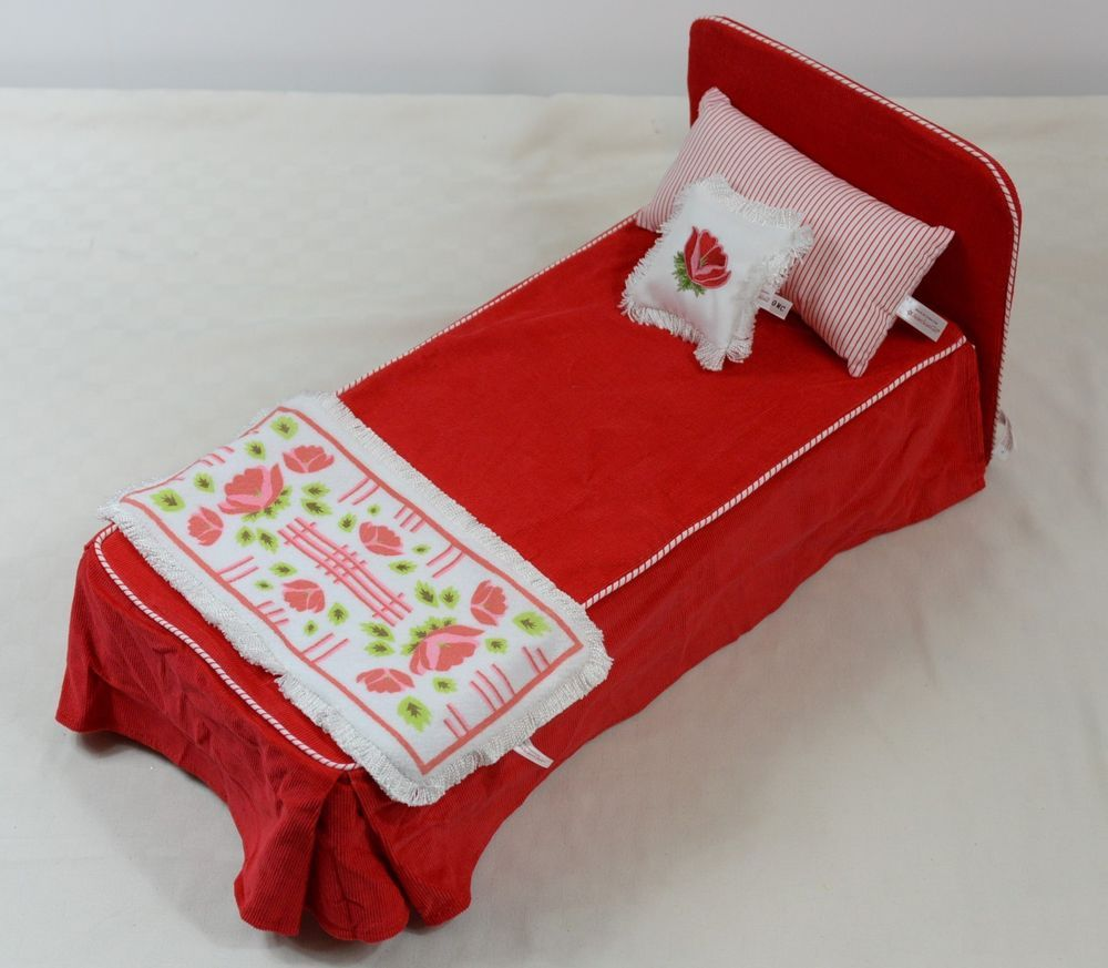 Details about American Girl Doll Molly Red Camp Bed Bedspread Striped & Flower Pillow & Rug #bearbedpillowdolls