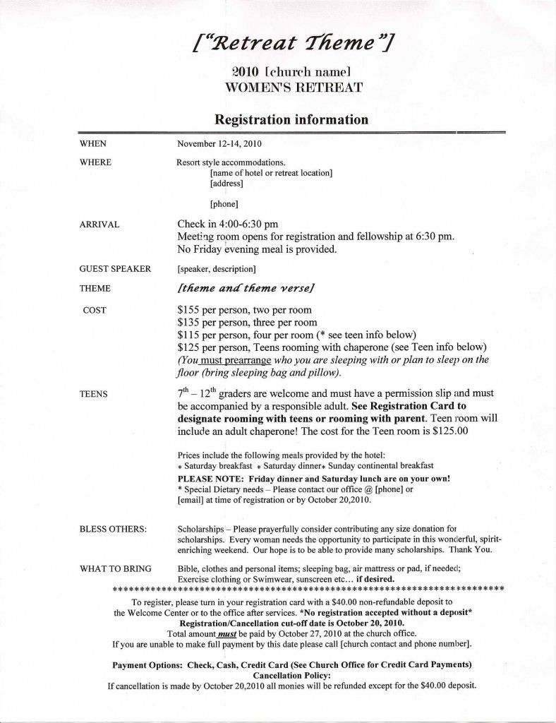 Retreat Information Sheet Sample  I Am