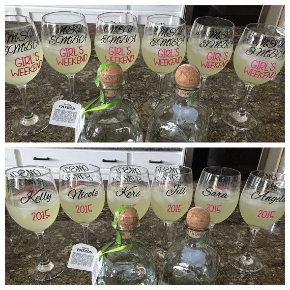Personalized Text With Name And Date Vinyl Decals  DIY Vinyl - Diy vinyl decals for wine glasses
