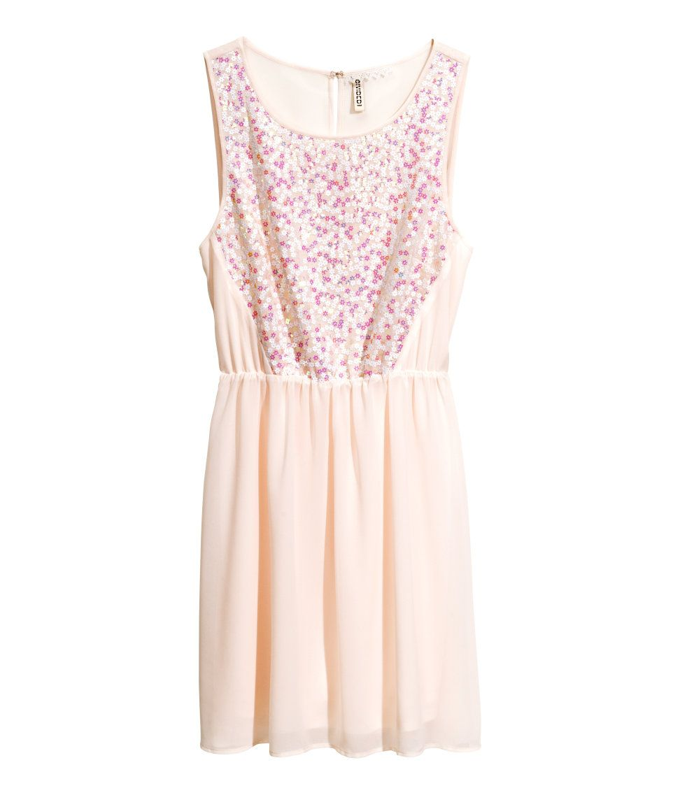 Pink dress with embroidery. #HMPastels
