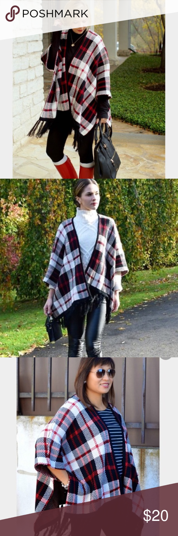 Plaid Knit Poncho Reposhing. Although it is a size small it would fit size medium or large best. Warm and thick knitted material. Great condition!! Forever 21 Sweaters Shrugs & Ponchos