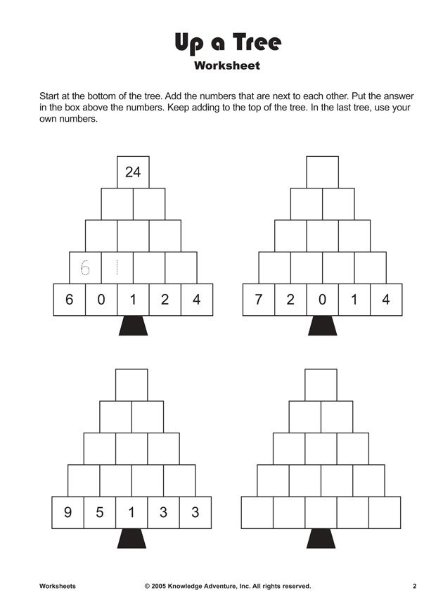 Climb up the tree with math! \'Up a Tree\' is a fun printable addition ...
