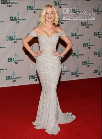 Y Off Shoulder Red Carpet Kellie Pickler Cma Awards Zuhair Murad Mermaid Long Celebrity Dresses 2017 Custom Made Evening As Low 133 67