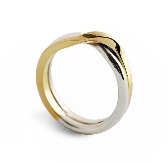 Love Knot Two Tone Wedding Band Unique Ring By Arosha 890 00