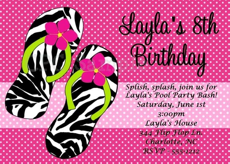 Free Printable Flip Flop Invitations – Teenage Girl Birthday Invitations Free Printable