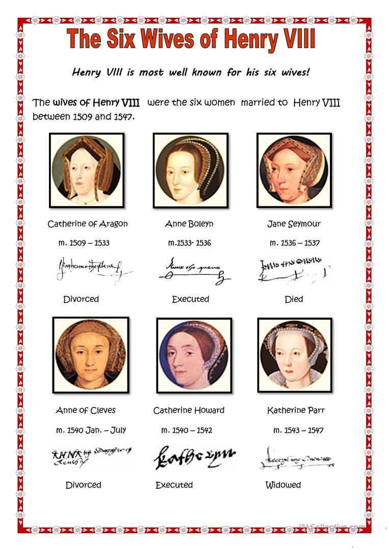 Henry Viii S Wives Worksheet Free Esl Printable Worksheets Made By Teachers Wives Of Henry Viii Henry Viii Viii