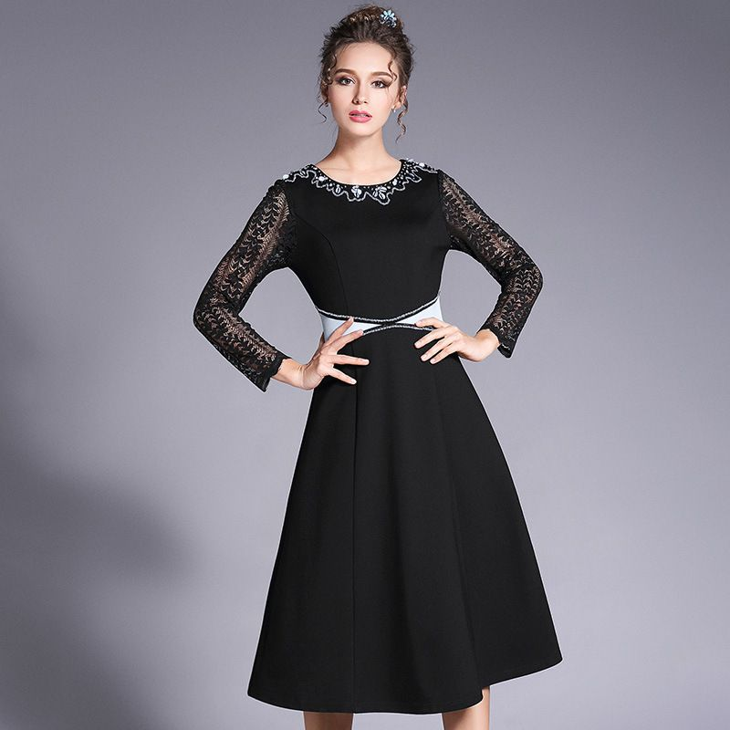 ouyalin women l- 5xl luxury beading plus size dress 2017 spring